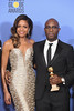 BEVERLY HILLS, CA - JANUARY 08: Actress Naomie Harris (L) and director Barry Jenkins, winners of Best Motion Picture