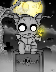 TheNightWatcher (BitStrange) Tags: unluckables unluckable unlucky luckycharm monster creature voodoodoll voodoo creepycute creepycuteart lowbrow lowbrowart bigeyes bigeyedart bigeyeart skulls gargoyle cemetery grave tombstone bats fullmoon