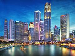 THE SINGAPORE RIVER (williamcho) Tags: singaporeriver elginbridge financialcentre boatquay bluehour bumboat rivertaxi riverbanks