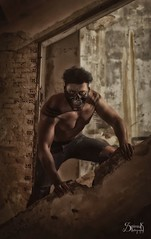 Post-Apocalyptic Shoot by SpirosK photography: Mihail, the brawler (SpirosK photography) Tags: postapocalyptic mihailiancu portrait male brawler muscles madmaxinspired fantasy mask