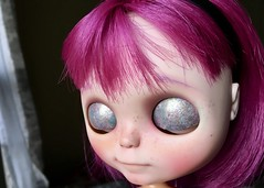 Caprice Eyelid Art (Chassy Cat) Tags: eyelid art chassycat purple simplythumptythump thump simply thumpty blythe wip custom customized doll fantasy hair carve faceplate smirk