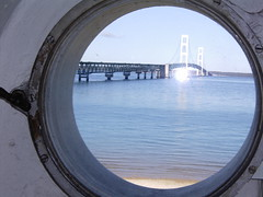 Mackinac Bridge (aplseed photography) Tags: travel water reflections scenery waterfoul unitedstates lakes rivers wetlands