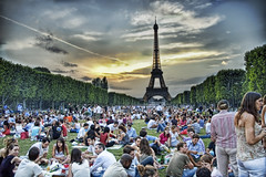 Sunset Picnic in Paris (Trey Ratcliff) Tags: sunset party paris france tower picnic eiffeltower eiffel lucisart nikonstunninggallery