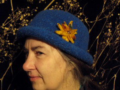 Day 13 Bowler (lady-ursula) Tags: hat feltedwool wool cap bowler blue felted flower