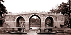 Crossings (Junkgirl) Tags: china beijing summerpalace yiheyuan suzhoujie bridge winter touched top20favorites aged 15fav urfavssepia