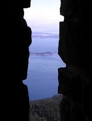 Glimpse the islands (GustavoG) Tags: orcasisland mountconstitution summit observation tower window stone masonry blue water sky islands green trees glimpse