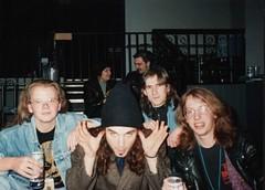 Pearl Jam's Dave Abbrusseze (Phil Sherry) Tags: pearljam ten backstage 21february1992 manchesterinternationalii stupidhairstyle whatwasithinkingwiththatwaistcoat daveabbrusseze