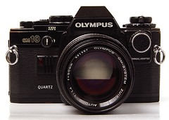 camera slr 35mm olympus om10 whitebackground