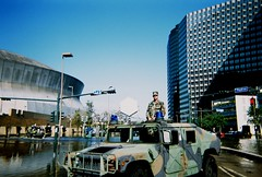 LRAD acoustic nonlethal device in NOLA at Superdome (xeni) Tags: neworleans katrina superdome flood hurricane atc sonicweapon nonlethalweapon sonicblaster edwardsairforcebase