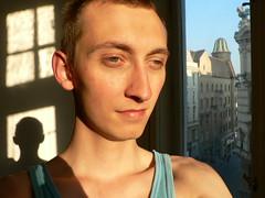 Sunwatch/Threesome (sjon) Tags: shadow portrait sun selfportrait home me window smile top20fav