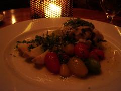 steamed black bass with heirloom tomatoes, leeks and fines herbs (vanillalattegirl) Tags: food hearth