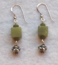 Jade cube and Bali silver earrings