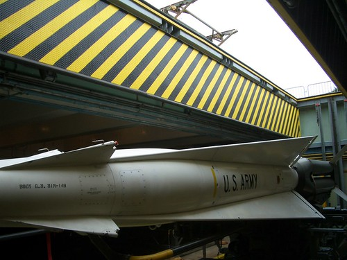 Nike missile on launch elevator