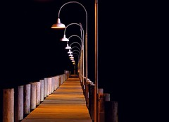 Question (Linus Gelber) Tags: night bay pier topv555 topf75 100v10f fv10 pilings lamps delaware deweybeach rustyrudder