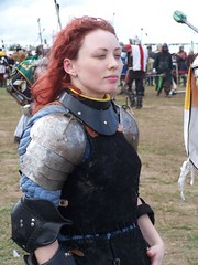 Pride (Beothuk) Tags: 2005 arizona leather metal hair war fighter wind sca az battle pride lips redhead armor lucky squint plates oneyear estrella stride societyforcreativeanachronism avacal antir gorget prideful poldrins