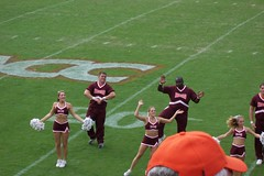Cheerleaders doing the Hokey-Pokey (GeorgePinecrest) Tags: football cheerleaders stadium marshall footballgame blacksburg hokeypokey virginiatech hokies lanestadium vtvsmarshall2005