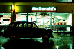 Midnight Snack (moonux) Tags: mcdonalds taxi cab london rain wet night reflection waiting alist wow 100v10f