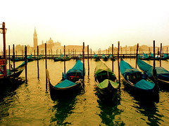 venice at dusk (navelless) Tags: bigcalm venice italy gondolas scenic view dusk sunset warm golden water navelless interestingness 74points