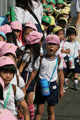 Pink, yellow and green hats (Lil [Kristen Elsby]) Tags: boy japan children japanese tokyo asia child topv1111 hats elementaryschool pairs  schoolchildren setagaya shimokitazawa shimo  eastasia shimokita schoolouting   setagayaku daita   shindaita
