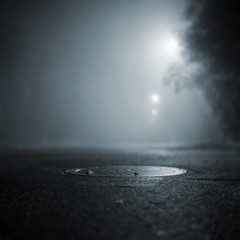 She refused to come back up again (BosseB) Tags: bw 120 6x6 fog night square streetlight ikoflex manhole efke100 fivestarsgallery artlibre