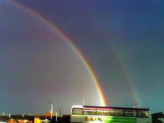 "Double Rainbow<br /><span style=""font-size:0.8em;"">Double Raindow over King's Lynn bus station.</span> • <a style=""font-size:0.8em;"" href=""https://www.flickr.com/photos/87605699@N00/54119191/"" target=""_blank"">View on Flickr</a>"