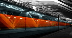 Going Underground (End) (Toni Blay) Tags: topf25 valencia speed train photoshop underground tren interestingness spain metro tube velocidad alameda metrovalencia analiza4549 analiza9 challengeyouwinner estaciondelaalameda