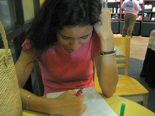 Lina, proofreading my essay. hot. by b r e n t.