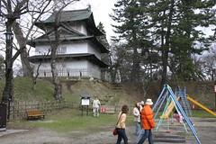 Swings and Castles (speex) Tags: japan hirosaki tower swingset