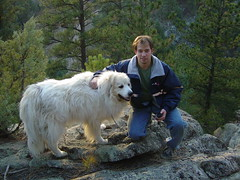 Me and Kira on hilltop (gamp) Tags: kittredge colorado mountains trees dog hiking greatpyrenees