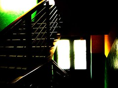 is the end of the tunnel now, sir? (jadziajadzia) Tags: door light building green yellow stairs empty poland tunnel indoor staircase inside cracow emptiness