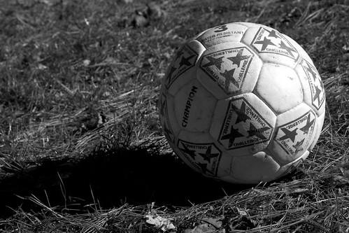 october 2005 autumn soccer ball bw blackandwhite shadow grass