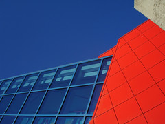 Feeding Old Habits (digitalVerve) Tags: blue red sky abstract building lines topv111 architecture interestingness angles minimal cube blocks cubes minimalism minimalist stacked linear digitalverve