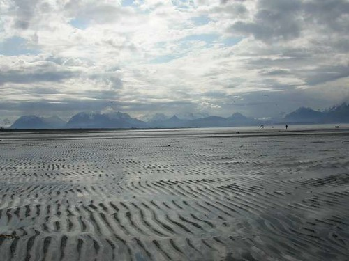 Rippled sand & mountains