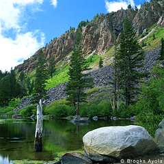 Twin Lakes USA (Brooks Ayola) Tags: trees lake color water landscape rocks scenic mammoth 230countriesusa