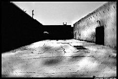 Alley (Jeff T. Alu) Tags: black white phototoshop digital downtown los angeles alley city dirty surreal moody lonely dark outdoors bleak blackandwhite deserted illusion zen medetation medetate power impact graphic doom bright earthy dirt gritty intense visionary heat passion 4x4 remote california desolate dreamy nightmare euphoric