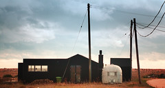 Rubber House, Dungeness (simpologist) Tags: architecture dungeness rubber silver caravan landscape black vista kent
