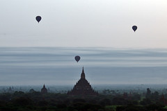 Baloons Over Bagan At Dawn - by tarotastic