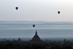 Baloons Over Bagan At Dawn - by tarotastic