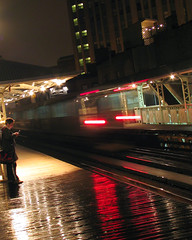 damen el (Joel Mann) Tags: wickerpark chicago night cta platform trains rainy transit publicrealm stations nightmotion