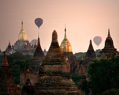 rise above the sunrise (Sara Heinrichs (awfulsara)) Tags: sunrise balloons asia quality burma temples myanmar hotairballoons bagan stupas topf700 canon70200f28lis utatafeature cmpro