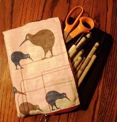 Moleskine case (domo_arigato) Tags: case sack bag holder pocket medium carry purse handmade textile scissors pems micron sakura moleskine sketchbook sketch mos november 2005