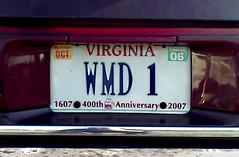 weapons of mass destruction (John C Abell) Tags: iraq vanity 911 terrorist plate licenseplate vanityplate license terror terrorism wmd licence licenceplate