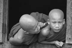 Myanmar - Young Monks (Stephane Kadosh) Tags: travel window asia burma monks fullhouse myanmar daring youngmonks angkorsingle