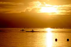 Dernier entrainement (iko) Tags: tahiti frenchpolynesia polynesiefrancaise rangiroa pirogue training entrainement sunset coucherdesoleil orange lagon lagoon water boat