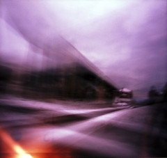 Playing in traffic (nicolai_g) Tags: color film blurry traffic lightleak intersection
