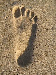 Will it Last??? (Kaushik A C) Tags: brown abstract feet beach sand expression perspective 2006 chennai footprint initial ecr interestingness112 i500