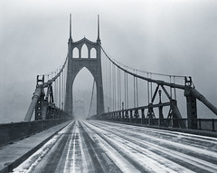 St Johns Bridge, snow (Zeb Andrews) Tags: winter bw snow cold beautiful oregon 1025fav wow portland nice 500v20f awesome bridges hc110 2550fav stunning excellent pacificnorthwest fujineopan100 pentax6x7 topphotoblog 90mm28 bluemooncamera zebandrews zebandrewsphotography