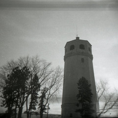Highland Tower (mhartford) Tags: bw minnesota square holga watertower toycamera stpaul highland diafine ilforddelta400