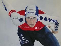 schaatser (skater) (welpim) Tags: art sports painting muscle iceskating hunk watercolour