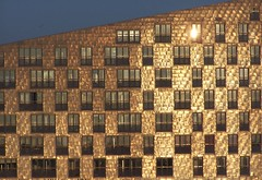 Facades (kwikzilver) Tags: city windows winter sunset urban sun sunlight detail reflection building texture dutch amsterdam sphinx architecture modern docks matthijsborghgraef shiny docklands zeeburg thewhale desfinx kwikzilver